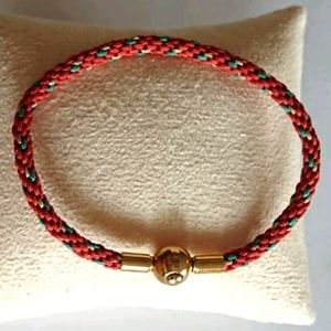 NEW Braided Unisex Bracelet Orange Green Gold